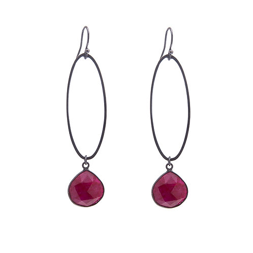 Oval Erosion Ruby Earrings.