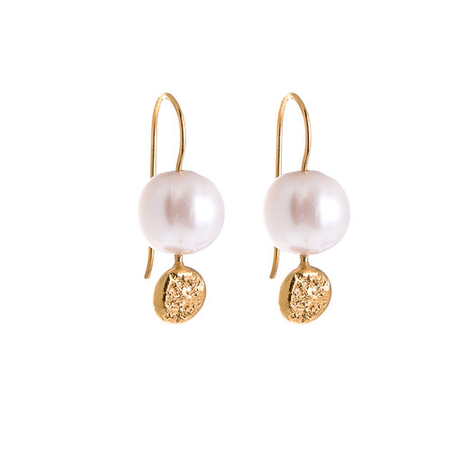 Anne Morgan Jewellery- Moon Dot Pearl Drop Earrings Gold Plated