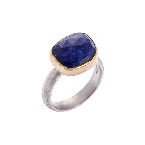 Free Form Silver  Lapis Lazuli Set In 18ct Yellow Gold