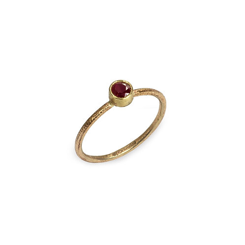 Anne Morgan Jewellery- 9ct Rose Gold Moondust Ring with Ruby