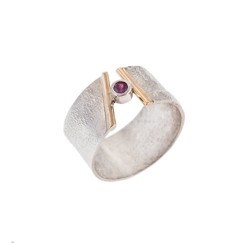 Memory Ring Silver with 18ct Detail with Ruby