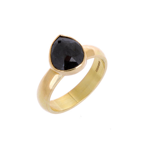 Pear Shaped Black Diamond 18ct Ring.