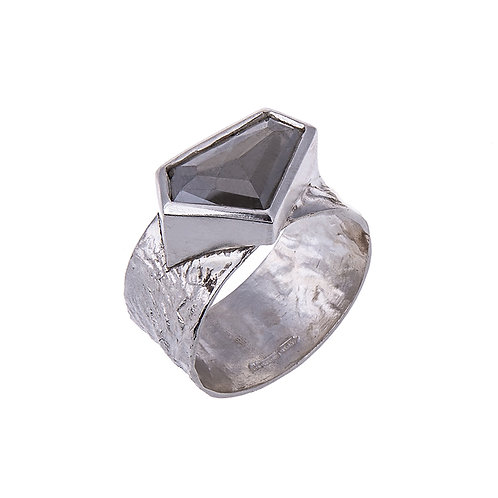 Desire Rose Cut Grey Diamond in 9ct White Gold Ring.