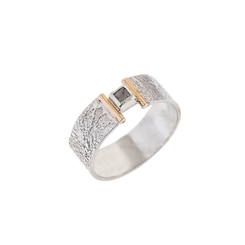 Hope Ring with Rough Diamond Silver & 18ct Detail