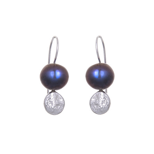Moon Dot Pearl Drop Earrings