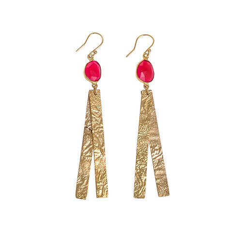 Long Moonscape Double Strand Gold Plated Earrings