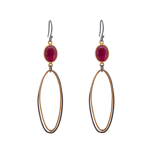 Double Oval Erosion Earrings with Ruby Oxidised Silver and Gold Plate