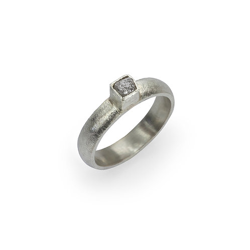 Rough Diamond Cube Ring in 9ct White Gold