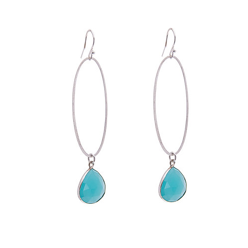 Oval Erosion Blue Chalcedony Earrings