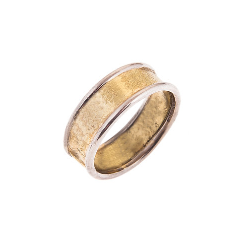 Moonscape 18ct Yellow Gold Ring with 18ct White Gold Detail