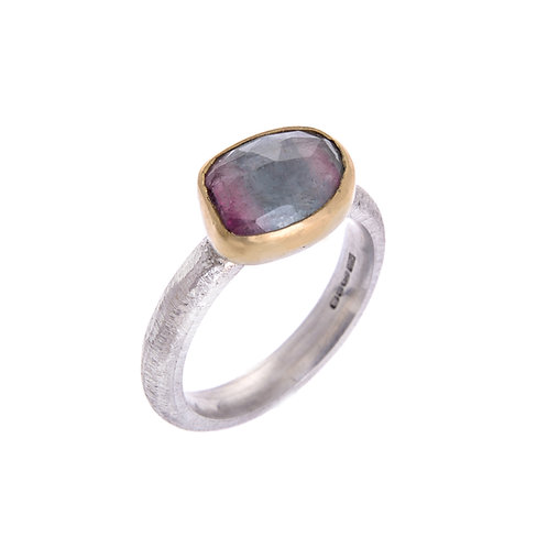 Free Form 9ct White Gold Ring With Tourmaline Set in 18ct Yellow Gold