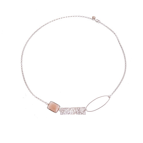 Anne Morgan Jewellery- Erosion Single Oval Silver Necklace with Sandy Chalcedony