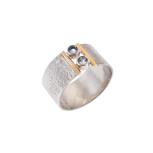 Anne Morgan Jewellery- Double Desire Silver and 18ct detail with Blue Topaz