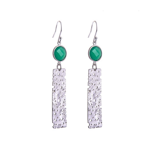 Long Erosion Earrings with Top Stone
