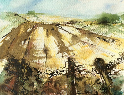 Mixed media painting of Wittenham Clumps in the snow by artist Susan Ganney