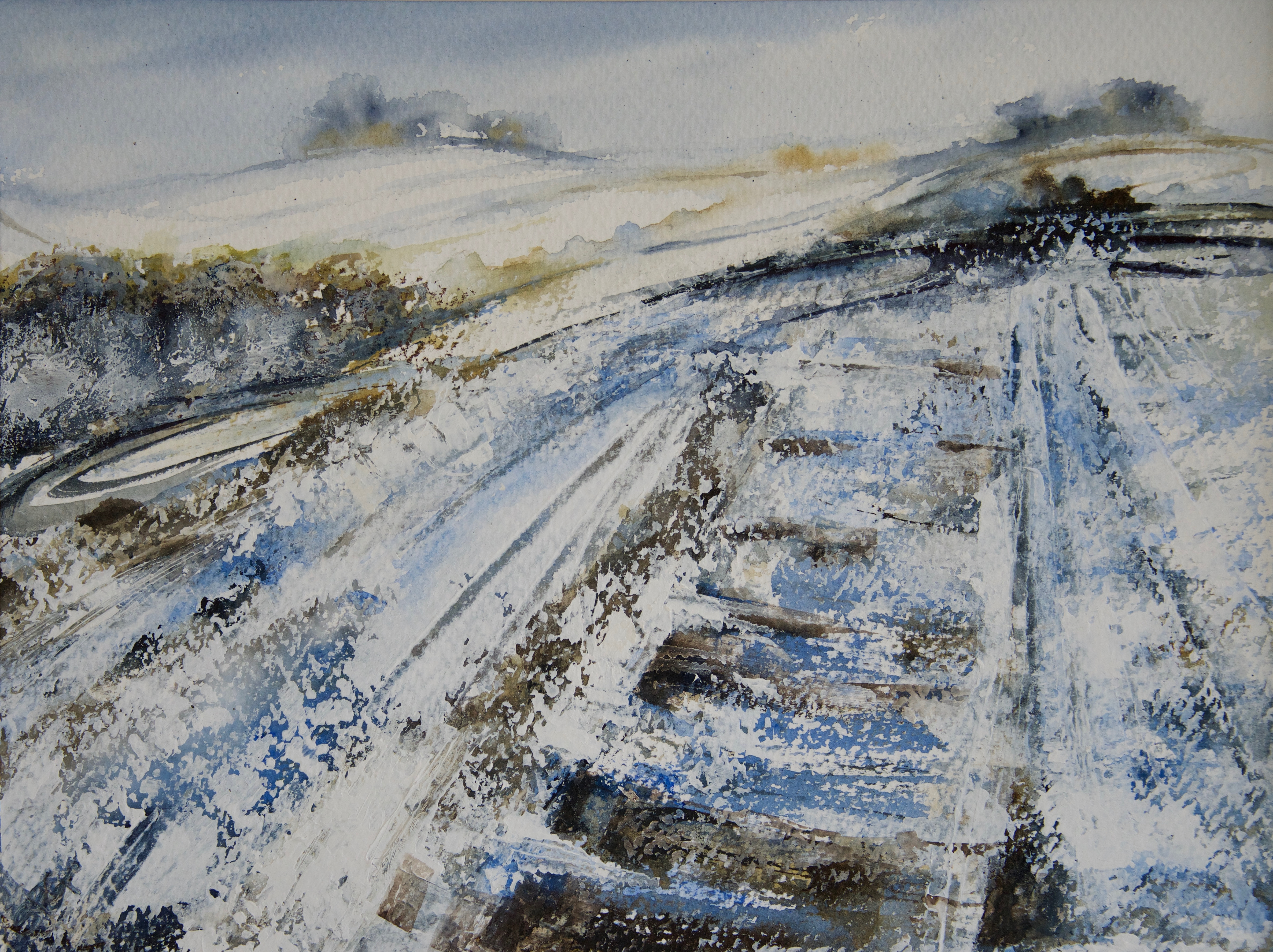 Snowfall at The Dig, Earth Trust (in the Shadow of Wittenham Clumps)