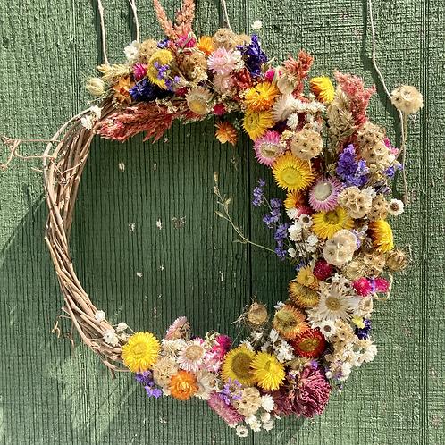Large Half-Moon Dried Flower Wreath