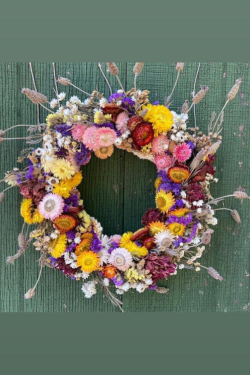Medium Full Moon Dried Flower Wreath