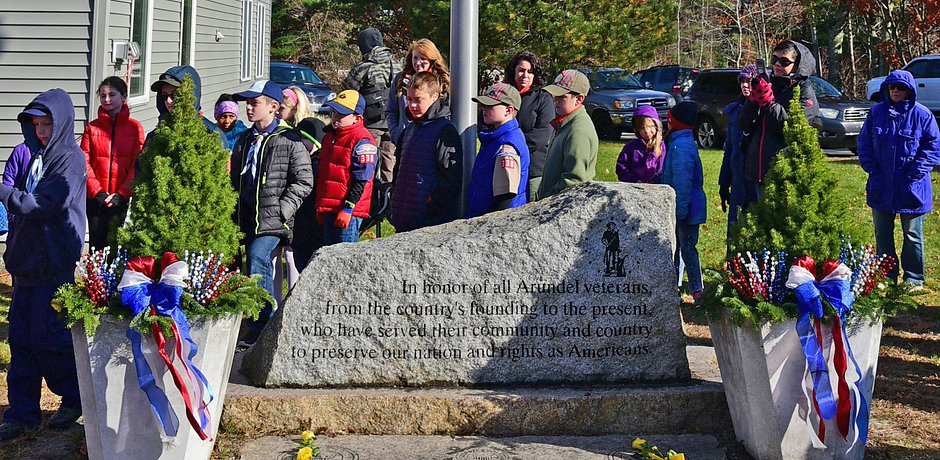 Dedication; first roll call; Veterans Memorial; Arundel; Maine