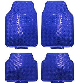 réf 88 tapis auto en pvc imitation alu bleu