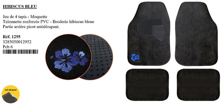 tapis moquette hibiscus bleu peraline