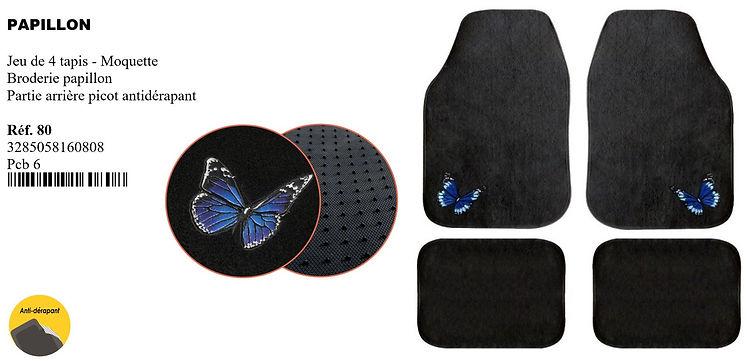 peraline tapis de voiture papillon moque