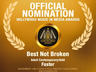 """Best Not Broken and their song """"Faster"""" nominated for 2018 Hollywood Music In Media Award!"""