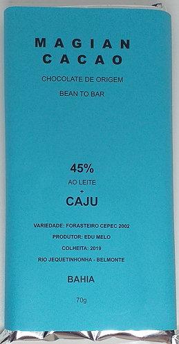 Chocolate ao leite 45 % cacau + CAJU