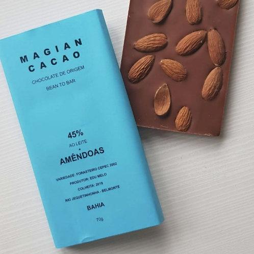CHOCOLATE AO LEITE 45 % + AMÊNDOAS 85g