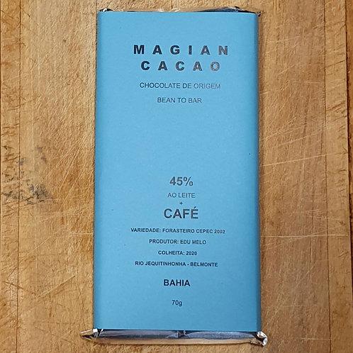 CHOCOLATE AO LEITE 45% CACAU + CAFÉ ESPECIAL 70g