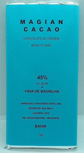 Chocolate ao leite 45 % cacau + Fava de Baunilha