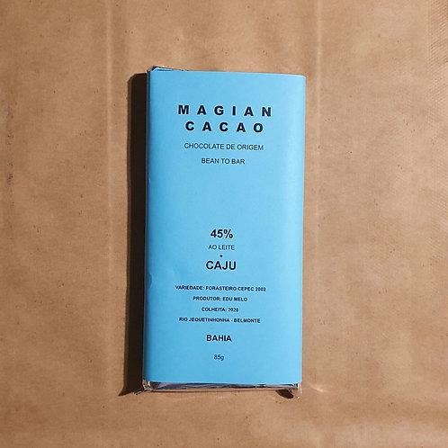 CHOCOLATE AO LEITE 45 % CACAU + CAJU 70g