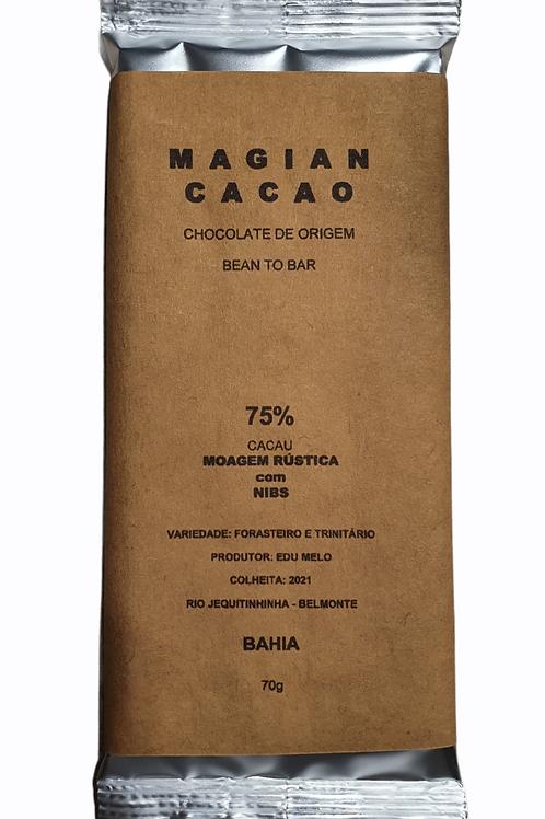 CHOCOLATE 75 % CACAU MOAGEM RÚSTICA +NIBS DE CACAU 70g