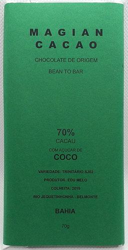 Chocolate 70 % cacau adoçado com açucar de coco