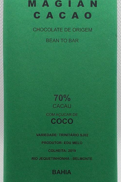 CHOCOLATE 70 % CACAU MOAGEM RÚSTICA ADOÇADO COM AÇUCAR DE COCO 70g