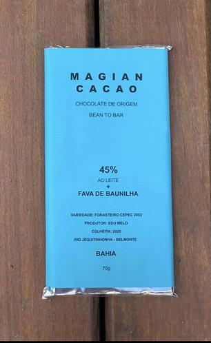 CHOCOLATE AO LEITE 45% CACAU + FAVA DE BAUNILHA 70 g