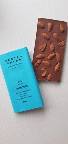 Chocolate ao leite 45 % + AMÊNDOAS 85 g