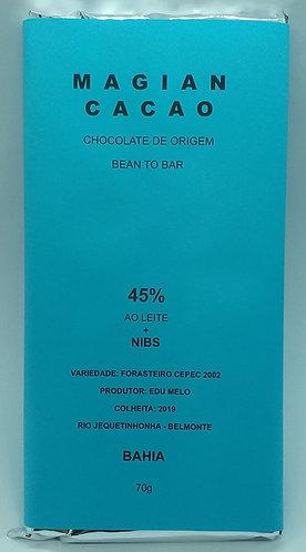 CHOCOLATE 45% CACAU +NIBS