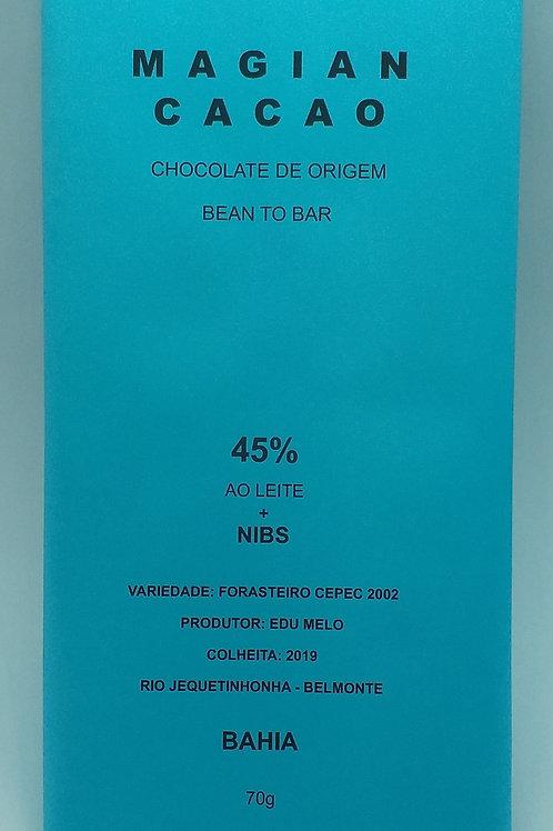 CHOCOLATE AO LEITE 45% CACAU +NIBS 70g