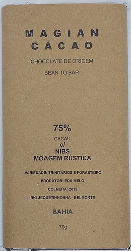 Chocolate 75 % cacau moagem rústica +nibs de cacau 70 g
