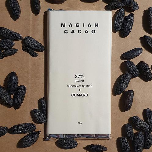 CHOCOLATE BRANCO 37% CACAU + CUMARU ( A BAUNILHA BRASILEIRA DA AMAZÔNIA) 70g