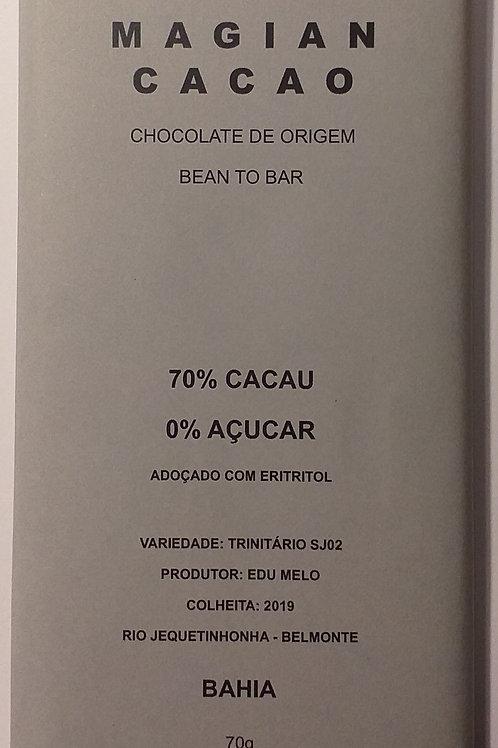 CHOCOLATE 70 % ZERO AÇUCAR 70g