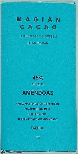 Chocolate ao leite 45 % + AMÊNDOAS