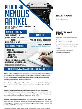 Hanya 50 Peserta, Ikuti Latihan Menulis Dipandu Profesor Imam - Radar Malang Online.png