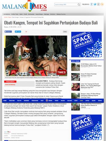 Gaya Obati Kangen, Tempat Ini Suguhkan Pertunjukan Budaya Bali Malang TIMES.png