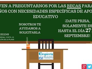 ¡ÚLTIMOS DÍAS PARA PODER SOLICITAR LAS BECAS PARA NIÑOS CON NECESIDADES ESPECÍFICAS DE APOYO EDUCATI