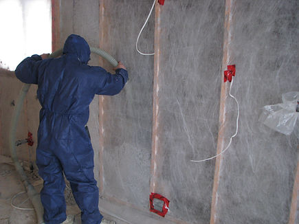 Cellulose Insulation applied in the basements