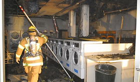 Lint fire at laundry mat