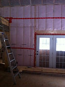 BIBS Blown in Blanket Insulation being installed in walls
