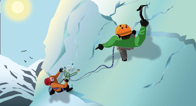 ice climbing on a sunny day
